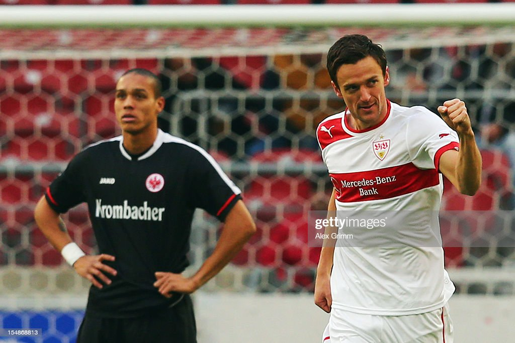 <a gi-track='captionPersonalityLinkClicked' href=/galleries/search?phrase=Christian+Gentner&family=editorial&specificpeople=228707 ng-click='$event.stopPropagation()'>Christian Gentner</a> (R) of Stuttgart celebrates his team's first goal as Bamba Anderson of Frankfurt reacts during the Bundesliga match between VfB Stuttgart and Eintracht Frankfurt at Mercedes-Benz Arena on October 28, 2012 in Stuttgart, Germany.