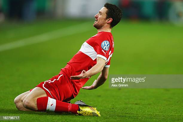 Christian Gentner of Stuttgart celebrates his team's first goal during the DFB Cup Quarter Final match between VfB Stuttgart and VfL Bochum at the...