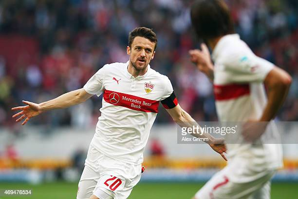 Christian Gentner of Stuttgart celebrates his team's first goal during the Bundesliga match between VfB Stuttgart and SV Werder Bremen at...