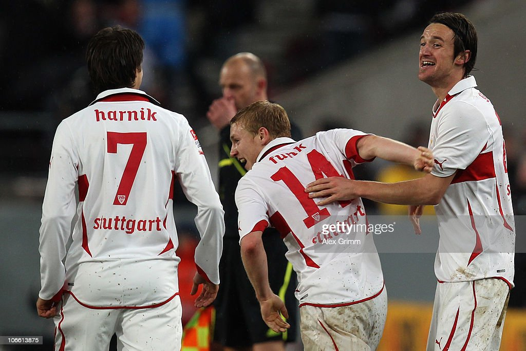 <a gi-track='captionPersonalityLinkClicked' href=/galleries/search?phrase=Christian+Gentner&family=editorial&specificpeople=228707 ng-click='$event.stopPropagation()'>Christian Gentner</a> of Stuttgart celebrates his team's fourth goal with team mates <a gi-track='captionPersonalityLinkClicked' href=/galleries/search?phrase=Patrick+Funk&family=editorial&specificpeople=691617 ng-click='$event.stopPropagation()'>Patrick Funk</a> and <a gi-track='captionPersonalityLinkClicked' href=/galleries/search?phrase=Martin+Harnik&family=editorial&specificpeople=733193 ng-click='$event.stopPropagation()'>Martin Harnik</a> (R-L) during the Bundesliga match between VfB Stuttgart and SV Werder Bremen at the Mercedes-Benz Arena on November 7, 2010 in Stuttgart, Germany.