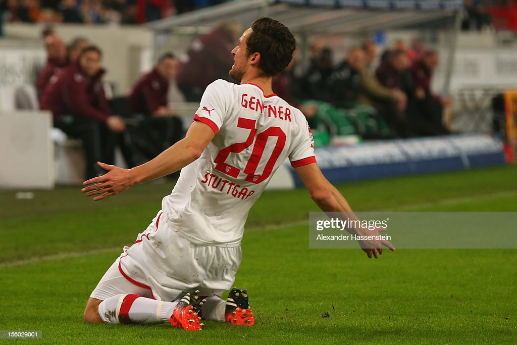 <a gi-track='captionPersonalityLinkClicked' href=/galleries/search?phrase=Christian+Gentner&family=editorial&specificpeople=228707 ng-click='$event.stopPropagation()'>Christian Gentner</a> of Stuttgart celebrates scoring the opening goal during the Bundesliga match between VfB Stuttgart and Hannover 96 at Mercedes-Benz Arena on November 11, 2012 in Stuttgart, Germany.