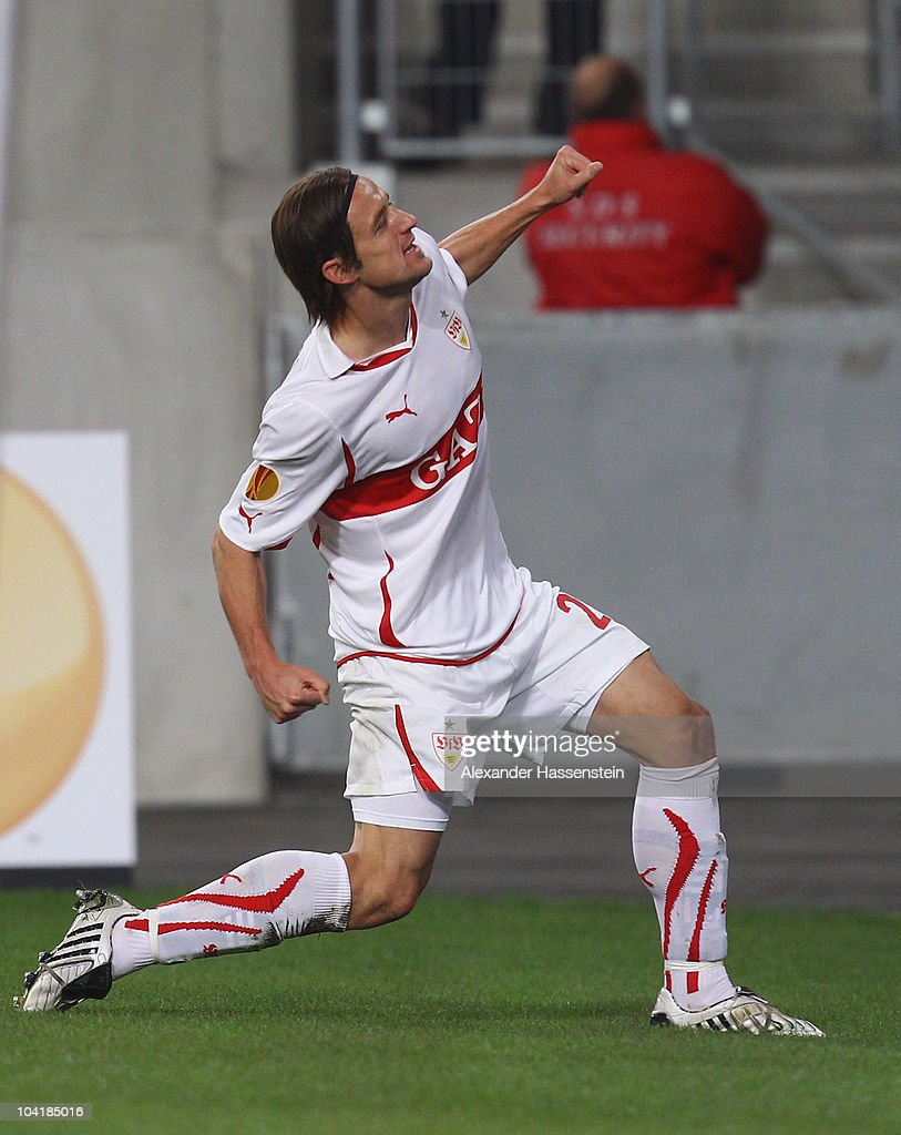 Christian Gentner of Stuttgart celebrates scoring the second team goal during the UEFA Europa League group H match between VfB Stuttgart and BSC...