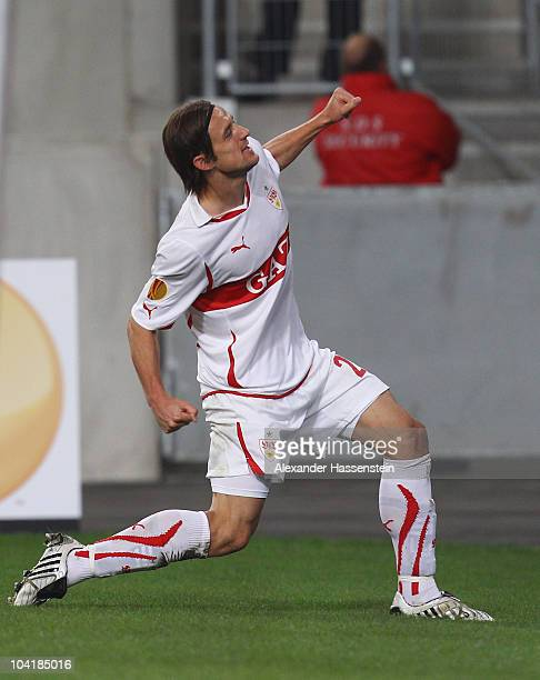 Christian Gentner of Stuttgart celebrates scoring the second team goal during the UEFA Europa League group H match between VfB Stuttgart and BSC...
