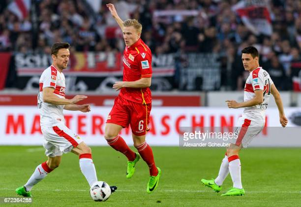 Christian Gentner of Stuttgart challenges Kristian Pedersen of Berlin during the Second Bundesliga match between VfB Stuttgart and 1 FC Union Berlin...