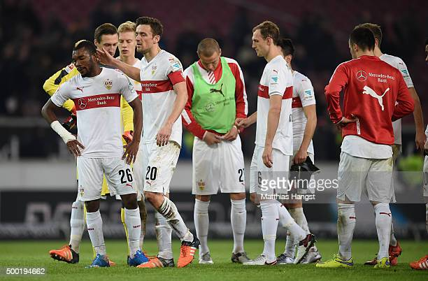 Christian Gentner of Stuttgart Die Serey of Stuttgart and Georg Niedermeier of Stuttgart show their disappointment after the Bundesliga match between...