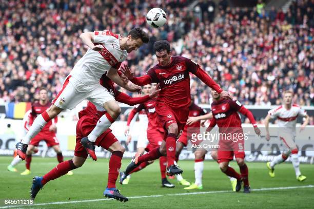 Christian Gentner of Stuttgart is challenged by Christoph Moritz of Kaiserslautern during the Second Bundesliga match between VfB Stuttgart and 1 FC...