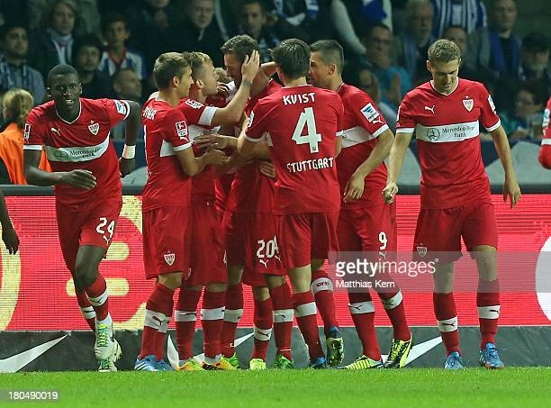 Christian Gentner of Stuttgart jubilates with team mates after scoring the first goal during the Bundesliga match between Hertha BSC Berlin and VFB...