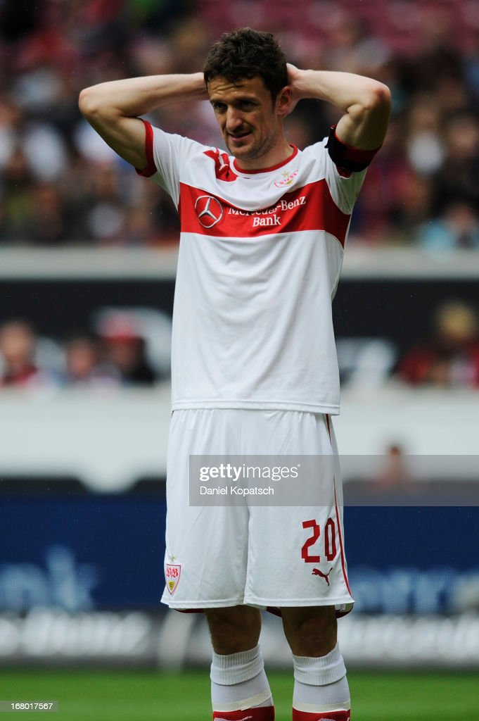 <a gi-track='captionPersonalityLinkClicked' href=/galleries/search?phrase=Christian+Gentner&family=editorial&specificpeople=228707 ng-click='$event.stopPropagation()'>Christian Gentner</a> of Stuttgart reacts during the Bundesliga match between VfB Stuttgart and SpVgg Greuther Fuerth at Mercedes-Benz Arena on May 4, 2013 in Stuttgart, Germany.