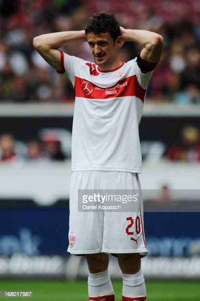 Christian Gentner of Stuttgart reacts during the Bundesliga match between VfB Stuttgart and SpVgg Greuther Fuerth at MercedesBenz Arena on May 4 2013...