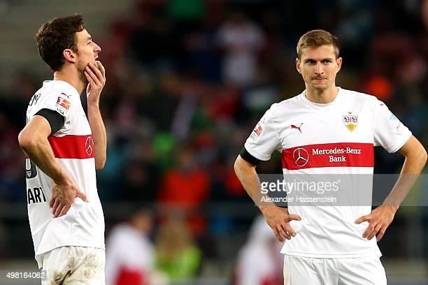 Christian Gentner of Stuttgart reacts with his team mate Alexandru Maxim after the Bundesliga match between VfB Stuttgart and FC Augsburg at...