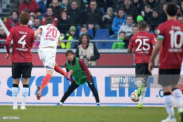 Christian Gentner of Stuttgart scores his first his goal during during to the Bundesliga match between Hannover 96 and VfB Stuttgart at HDIArena on...