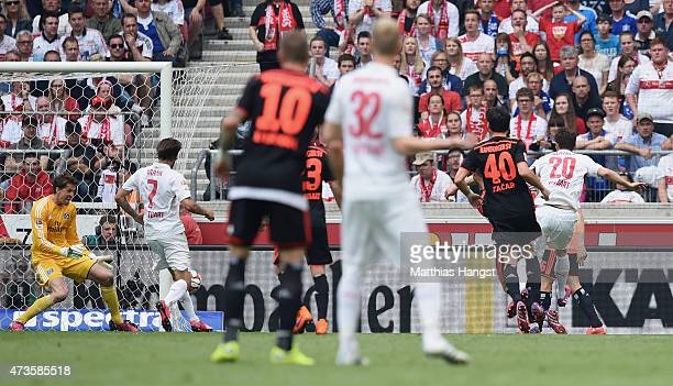 Christian Gentner of Stuttgart scores his team's first goal during the Bundesliga match between VfB Stuttgart and Hamburger SV at MercedesBenz Arena...