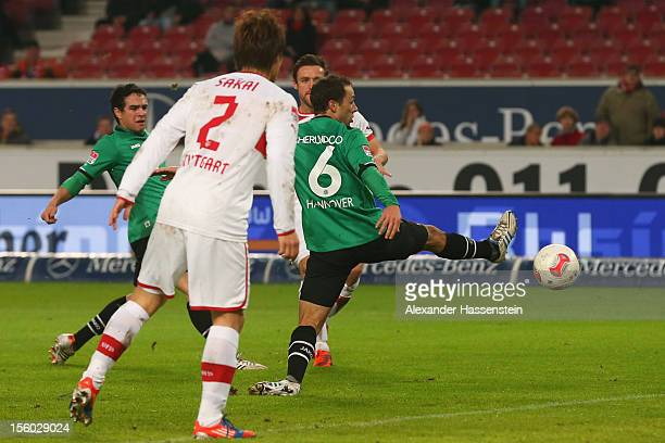 Christian Gentner of Stuttgart scores the opening goal during the Bundesliga match between VfB Stuttgart and Hannover 96 at MercedesBenz Arena on...