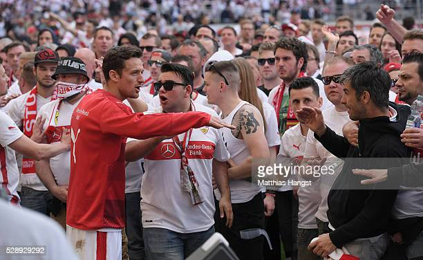 Christian Gentner of Stuttgart seen with the storming fans after the Bundesliga match between VfB Stuttgart and 1 FSV Mainz 05 at MercedesBenz Arena...