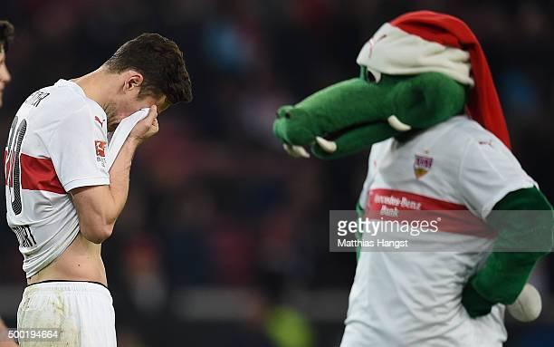 Christian Gentner of Stuttgart shows his disappointment after the Bundesliga match between VfB Stuttgart and Werder Bremen at MercedesBenz Arena on...