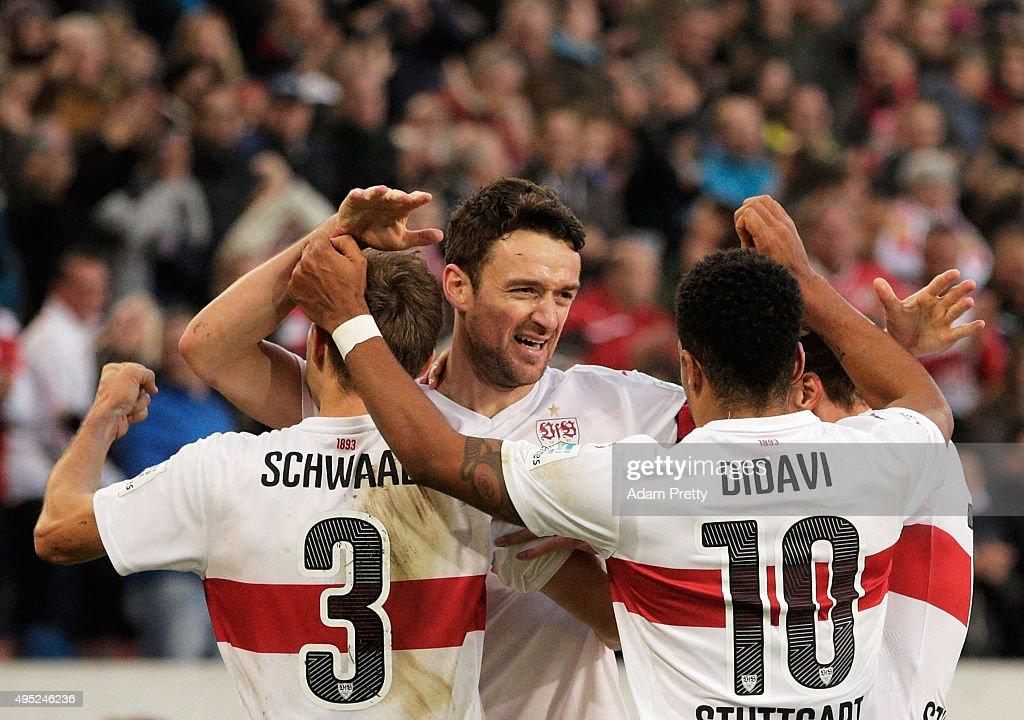 Christian Gentner of VfB Stuttgart celebrates after scoring a goal during the Bundesliga match between VfB Stuttgart and SV Darmstadt at MercedesBenz...