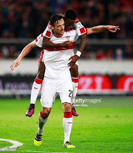 Christian Gentner of VfB Stuttgart celebrates after scoring the fourth goal during the Second Bundesliga match between VfB Stuttgart and SpVgg...