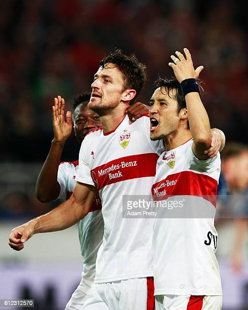 Christian Gentner of VfB Stuttgart celebrates with Hajime Hosogai of VfB Stuttgart after scoring the fourth goal during the Second Bundesliga match...