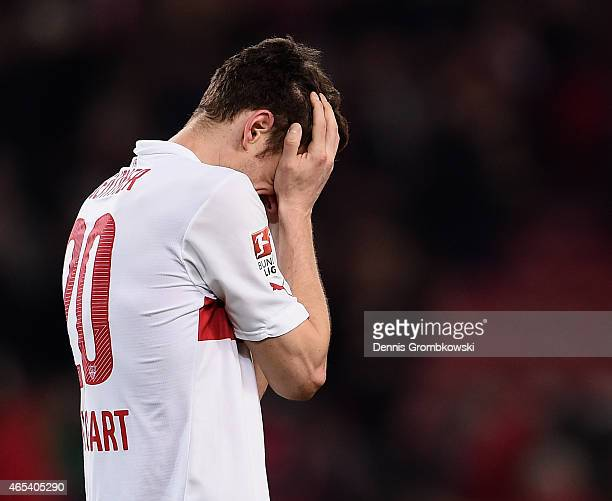 Christian Gentner of VfB Stuttgart reacts after the Bundesliga match between VfB Stuttgart and Hertha BSC at MercedesBenz Arena on March 6 2015 in...