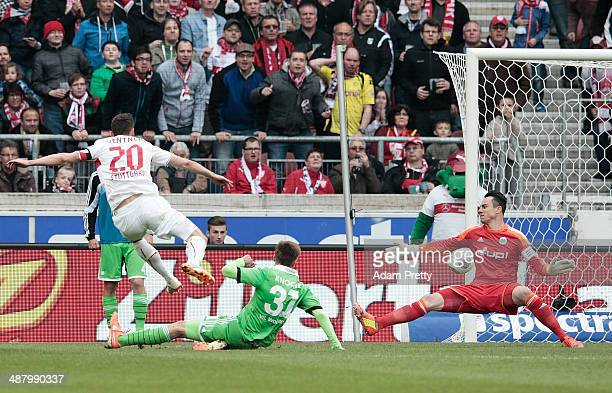 Christian Gentner of VfB Stuttgart scores a goal during the Bundesliga match between VfB Stuttgart and VfL Wolfsburg at MercedesBenz Arena on May 3...