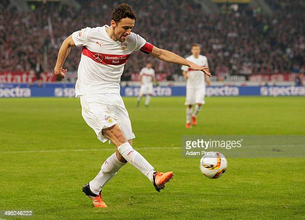 Christian Gentner of VfB Stuttgart scores a goal during the Bundesliga match between VfB Stuttgart and SV Darmstadt at MercedesBenz Arena on November...