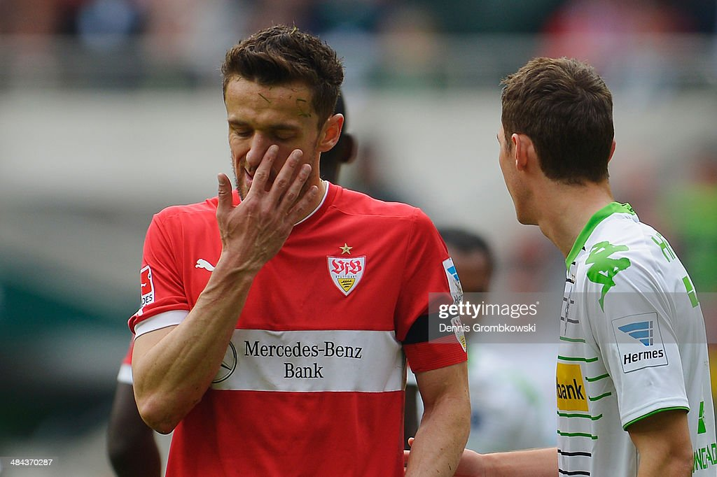 <a gi-track='captionPersonalityLinkClicked' href=/galleries/search?phrase=Christian+Gentner&family=editorial&specificpeople=228707 ng-click='$event.stopPropagation()'>Christian Gentner</a> of VfB Stuttgart shows his frustration during the Bundesliga match between Borussia Moenchengladbach and VfB Stuttgart at Borussia-Park on April 12, 2014 in Moenchengladbach, Germany.