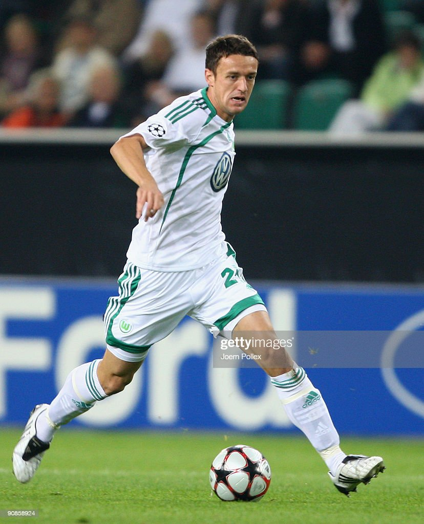 Christian Gentner of Wolfsburg plays the ball during the UEFA Champions League Group B match between VfL Wolfsburg and CSKA Moscow at Volkswagen Arena on September 15, 2009 in Wolfsburg, Germany.