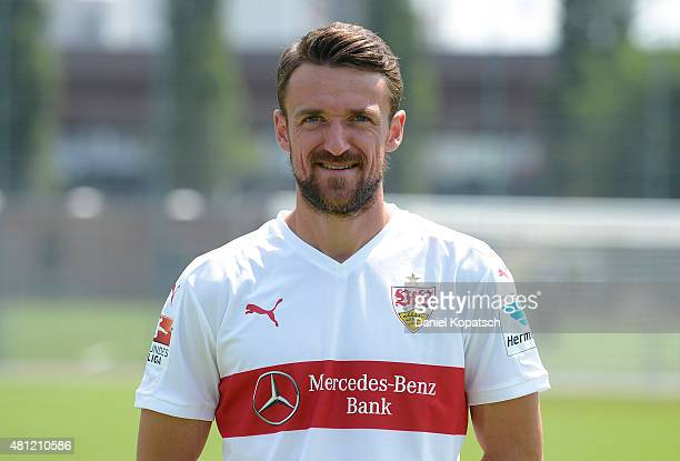 Christian Gentner poses during the VfB Stuttgart team presentation on July 17 2015 in Stuttgart Germany