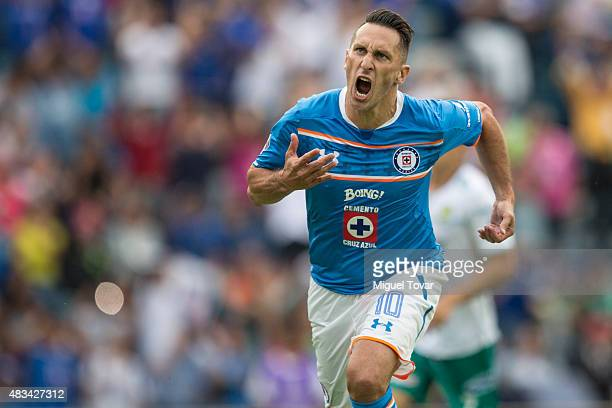 Christian Gimenez of Cruz Azul celebrates after scoring the second goal of his team during a 3rd round match between Cruz Azul and Leon as part of...
