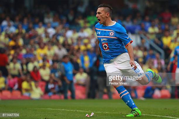 Christian Gimenez of Cruz Azul celebrates after scoring the second goal of his team during the 7th round match between America and Cruz Azul as part...