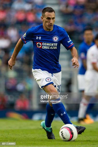 Christian Gimenez of Cruz Azul drives the ball during the 4th round match between Cruz Azul and Chivas as part of the Torneo Apertura 2017 Liga MX at...