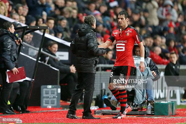 Christian Gourcuff headcoach of Rennes and Yoann Gourcuff during the Ligue 1 match between Stade Rennais and Sco Angers at Stade de la Route de...