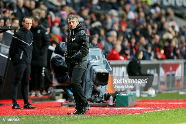 Christian Gourcuff headcoach of Rennes during the Ligue 1 match between Stade Rennais and Sco Angers at Stade de la Route de Lorient on November 19...