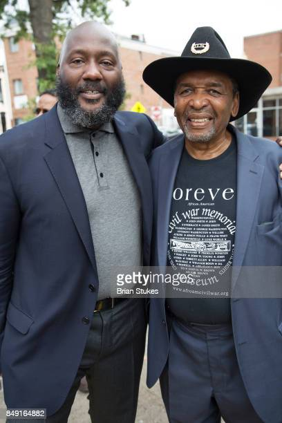 Christian Gregory and Dr Frank Smith attend Dick Gregory's Parade Of Life at The Legendary Howard Theatre on September 17 2017 in Washington District...