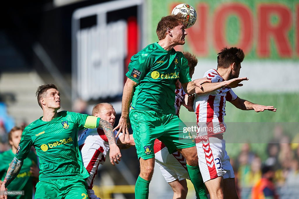 Christian Greko Jakobsen of Brondby IF and Lukas Spalvis of AaB Aalborg compete for the ball during the Danish Alka Superliga match between AaB Aalborg and Brondby IF at Nordjyske Arena on May 1, 2016 in Aalborg, Denmark.