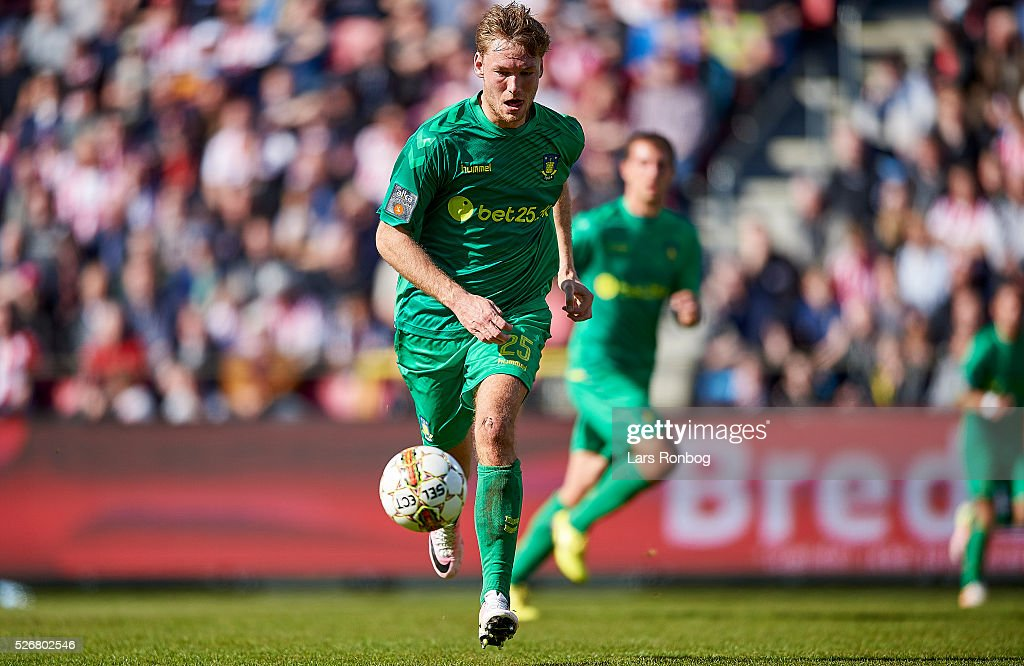Christian Greko Jakobsen of Brondby IF in action during the Danish Alka Superliga match between AaB Aalborg and Brondby IF at Nordjyske Arena on May 1, 2016 in Aalborg, Denmark.