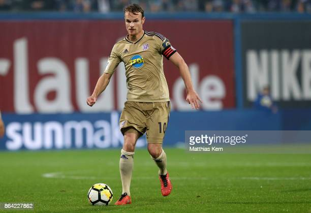 Christian Gross of Osnabrueck runs with the ball during the third league match between FC Hansa Rostock and VfL Osnabrueck at Ostseestadion on...
