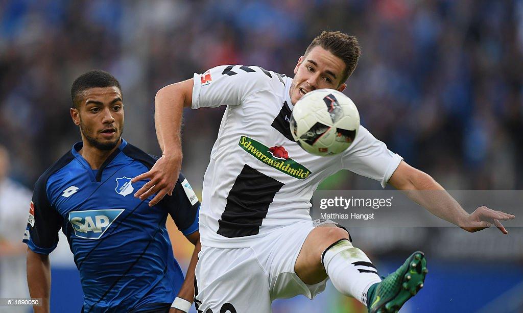 Christian Guenter of Freiburg controls the ball during the Bundesliga match between TSG 1899 Hoffenheim and SC Freiburg at Wirsol Rhein-Neckar-Arena on October 15, 2016 in Sinsheim, Germany.