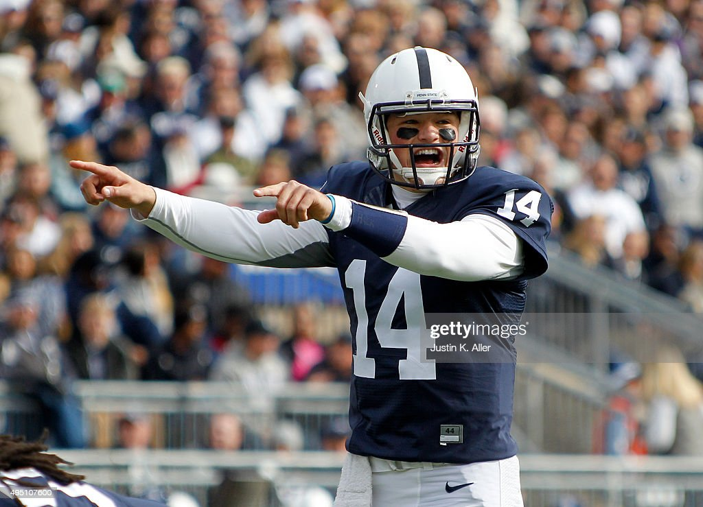 <a gi-track='captionPersonalityLinkClicked' href=/galleries/search?phrase=Christian+Hackenberg&family=editorial&specificpeople=11321709 ng-click='$event.stopPropagation()'>Christian Hackenberg</a> #14 of the Penn State Nittany Lions directs the offense in the first half during the game against the Illinois Fighting Illini on October 31, 2015 at Beaver Stadium in State College, Pennsylvania.