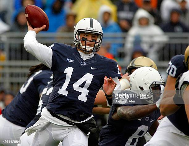 Christian Hackenberg of the Penn State Nittany Lions drops back to pass in the first quarter during the game against the Army Black Knights on...