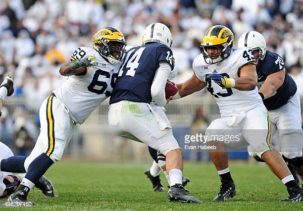 Christian Hackenberg of the Penn State Nittany Lions gets sacked by Willie Henry of the Michigan Wolverines and Chris Wormley at Beaver Stadium on...