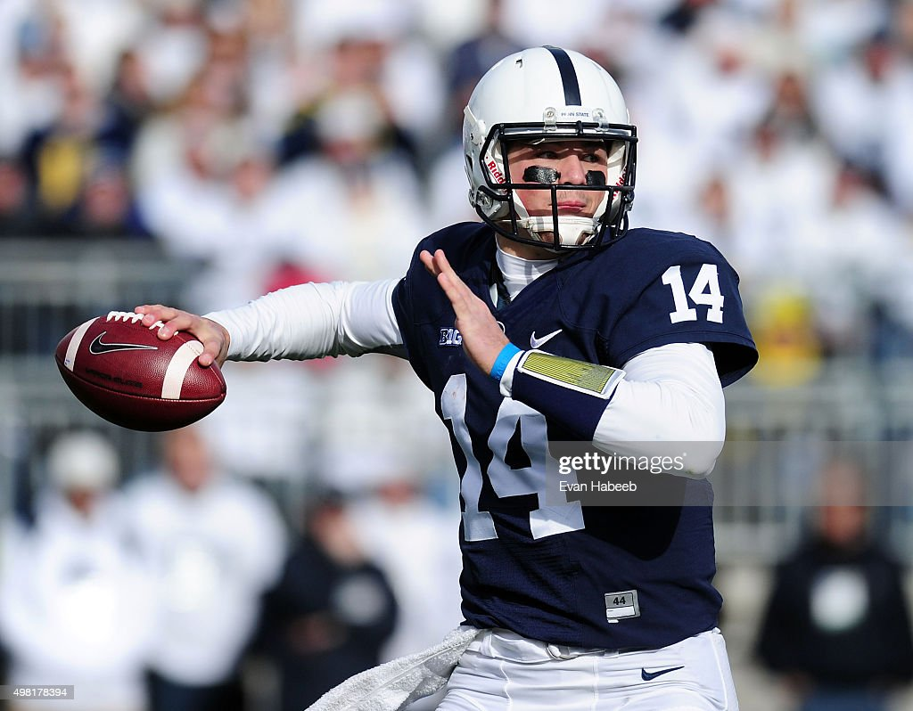 <a gi-track='captionPersonalityLinkClicked' href=/galleries/search?phrase=Christian+Hackenberg&family=editorial&specificpeople=11321709 ng-click='$event.stopPropagation()'>Christian Hackenberg</a> #14 of the Penn State Nittany Lions throws a pass in the second quarter agianst the Michigan Wolverines at Beaver Stadium on November 21, 2015 in State College, Pennsylvania.