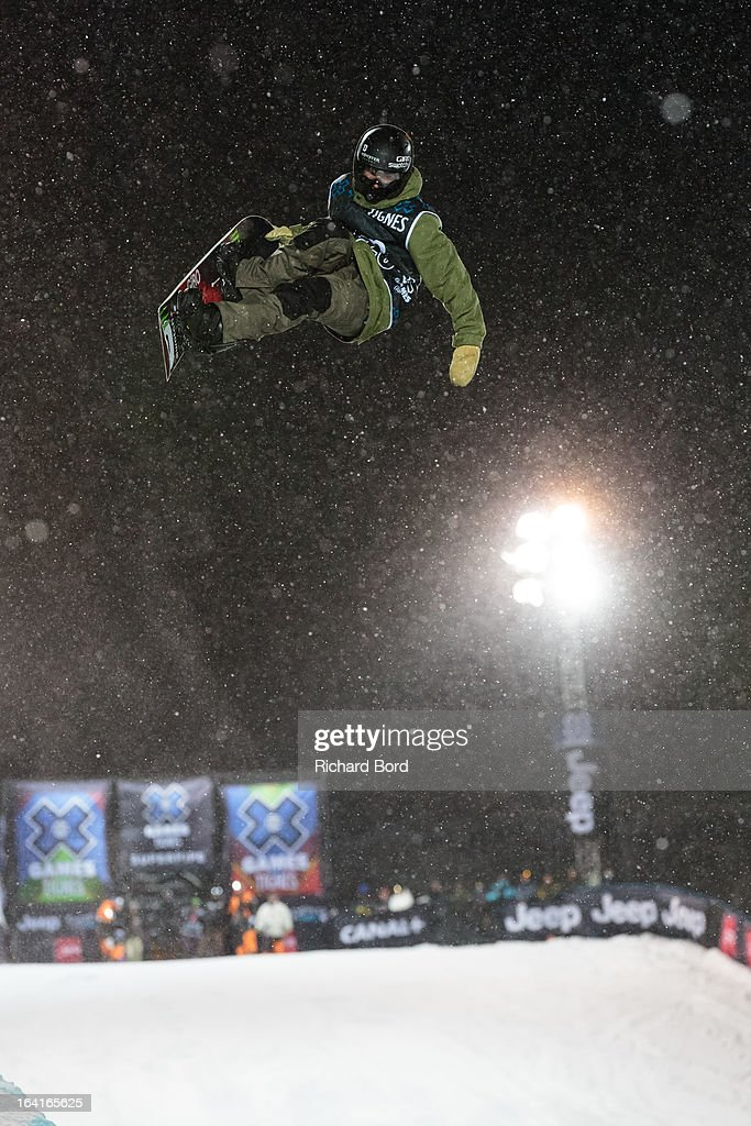 Christian Haller of Switzerland performs as he qualifies fourth during the Men's Snowboard Superpipe elimination during day three of Winter X Games Europe 2013 on March 20, 2013 in Tignes, France.