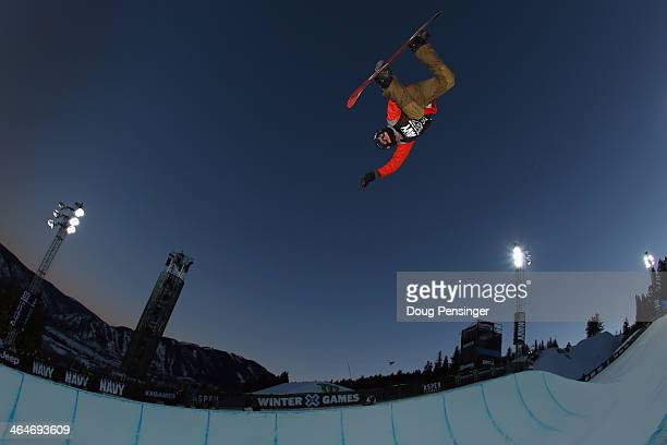 Christian Haller of Switzerland takes a practice run before the men's snowboard superpipe eliminations at Winter XGames 2014 Aspen at Buttermilk...