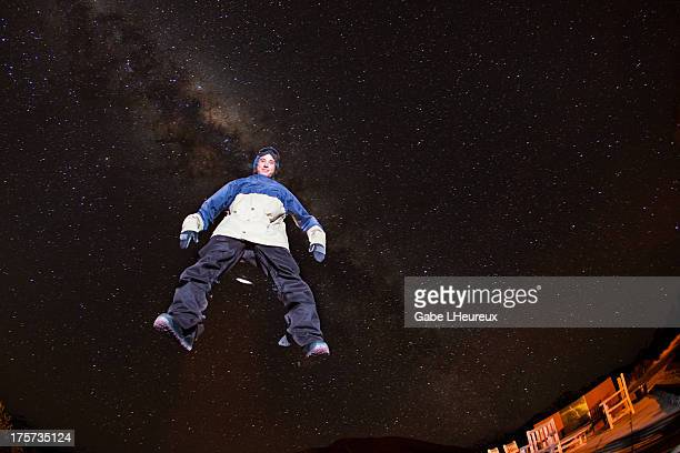Christian Haller seems to float through a starry sky on August 22 2011 in Snowpark New Zealand