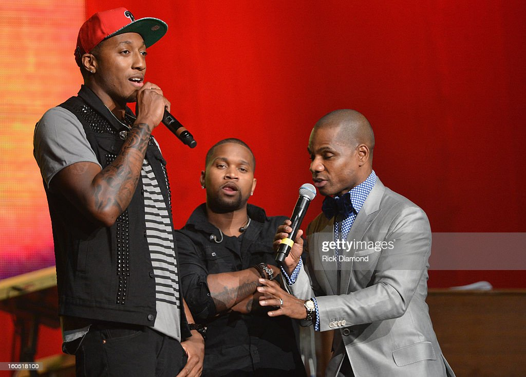 Christian hip hop arist LeCrae (L) and host Kirk Franklin speak onstage during the Super Bowl Gospel 2013 Show at UNO Lakefront Arena on February 1, 2013 in New Orleans, Louisiana.