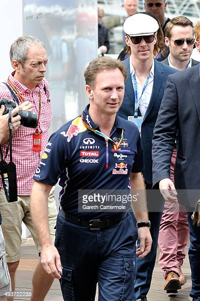 Christian Horner and Benedict Cumberbatch onboard the Red Bull Energy Station during the Monaco Formula One Grand Prix at Circuit de Monaco on May 25...