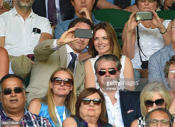 Christian Horner and Geri Halliwell attend day eleven of the Wimbledon Tennis Championships at Wimbledon on July 10 2015 in London England