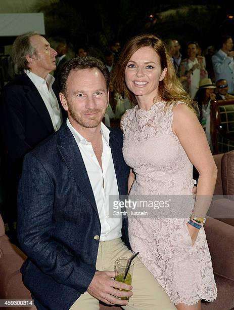 Christian Horner and Geri Halliwell attend the Sentebale Polo Cup presented by Royal Salute World Polo at Ghantoot Polo Club on November 20 2014 in...