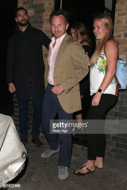 Christian Horner and Geri Horner seen leaving Chiltern Firehouse after a night out on June 26 2017 in London England